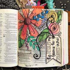 Bible Journaling by Kaylee King Some of these are beautiful,but I don't like covering Scripture. Faith Bible, My Bible, Bible Art, Bible Scriptures, Bible Study Journal, Scripture Study, Art Journaling, Scripture Journal, Scripture Doodle