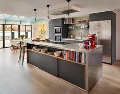 combinación del estilo contemporáneo e industrial en la cocina