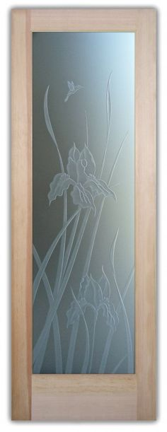 Iris 3D Private Glass Front Entry Doors Etched Carved Iris Reeds Hummingbird by Sans Soucie Art Glass.