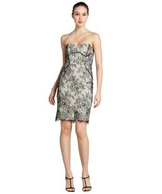 Badgley Mischka black and cream lace strapless dress...maybe add straps?
