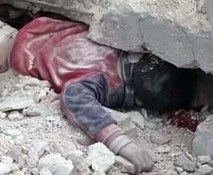 Curse of war, children under debris after serial bombardment to their houses