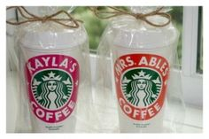personalized starbucks cups make fantastic teacher gifts | these are made by a 13 year old girl!