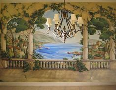 Italian Mural. Georgetown.Texas. www.valariebillingsswayne.com Painting Wallpaper, Mural Painting, Wall Wallpaper, Roman Garden, Georgetown Texas, Mural Ideas, Backdrops For Parties, Bedroom Art, Chinoiserie