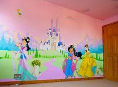 Disney Princess Mural hand painted in little girl& bedroom. Princess Mural, Disney Princess Bedding, Princess Bedrooms, Disney Bedrooms, Royal Princess, Disney Desktop Wallpaper, Wall Stickers Wallpaper, Kids Room Wallpaper, Pink Bedroom Design