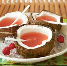 Coconuts - You could poor wax into them and make candles or make a delicious drink such as  Ingredients:  1 (1.75-liter) bottle raspberry lemonade    1 3/4 cups coconut rum  1 cup amaretto liqueur    Preparation:  Combine raspberry lemonade, coconut rum, and amaretto liqueur in a large pitcher. Stir well, and serve over ice.