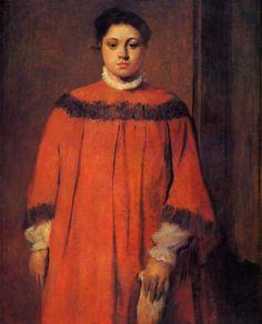 """classic-art: """" Girl in Red Edgar Degas, """" Edgar Degas, Mary Cassatt, Pierre Auguste Renoir, Manet, Free Art Prints, Canvas Art Prints, Degas Paintings, Red Artwork, Red Dates"""