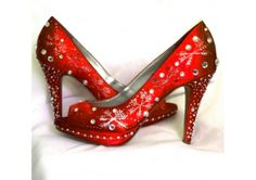 Wedding Shoes snowflakes Winter Wedding red lipstick Christmas bling - TheWeddingMile.com