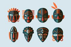 8 African Masks Flat Icons by Lianella's Shop on @creativemarket