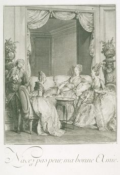 18th century gowns and sofa which evidently was kind of a new thing at the time.