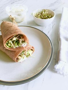 Wraps make a great healthy on- the- go lunch option. Pair with some other grab- and- go items like cut up veggies or salad and you've got a filling meal.