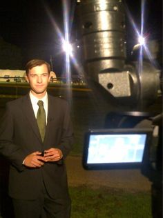 Justin Lewis getting ready for his 10pm live shot.