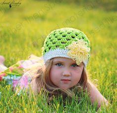 Beanie Hat Crocheted The Tiffany Marie Grass Green