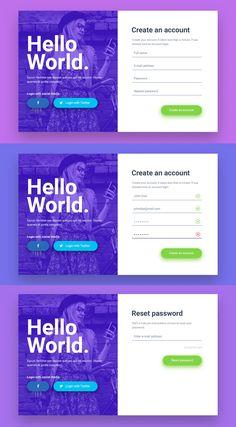 Hello World Login & Registration Form - Design Template Place Form Design, Ux Design, Page Design, Creative Design, Website Home Page, Ui Website, Portfolio Web Design, Portfolio Website, Login Form