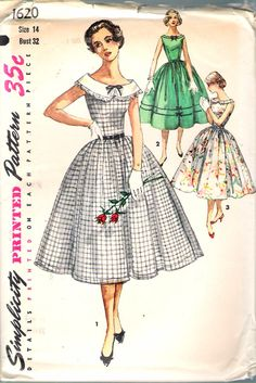 """Vintage 1956 Simplicity 1620 One-Piece Dress With Detachable Collar Sewing Pattern Size 14 Bust 32"""" UNCUT by Recycledelic1 on Etsy"""