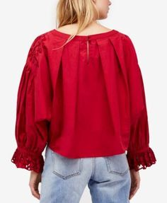 Free People Wishing Well Cotton Bell-Sleeve Top - White XS