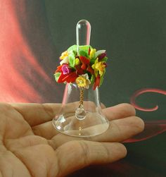 Hand Blown Art Glass Bell Decorated with Spring by Thierry1888, $16.00