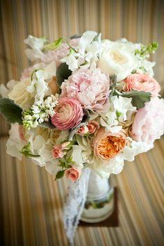 Peach pink white bridal bouquet by flower allie
