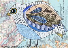 bird collage by Laura Wennstrom.  Like the map and the tangle and the bird.