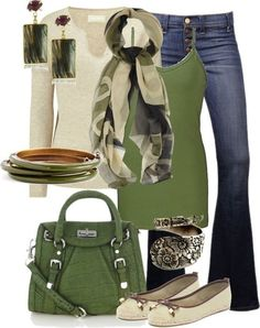 Green and beige outfit. by penelope
