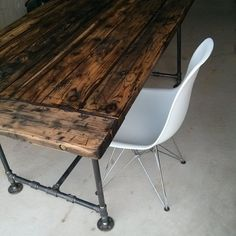 Barnwood table with Eiffel Chair