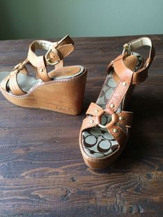 NEW-Sold Out-COACH Mayra Platform Wedge Tan Sandals Sz 10B Made in Italy RP $248 #Coach #GladiatorWedgePlatform