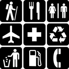 This image has various examples of semiotic/symbolic signs. Without using any words one can recognize what the images are -- hiking, restaurant/eating, restroom, airport, first aid, recycling, trash, gas station, phone booth. Read more: http://ade-adebayo.blogspot.com/2012/04/semiotics.html