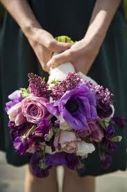 Vibrant purple bridesmaids bouquet with anemones, lilacs and roses in varying shades of purple. Purple Bridesmaid Bouquets, Wedding Bouquets, Pink Bouquet, Bridesmaid Dress, Our Wedding, Dream Wedding, Purple Wedding Flowers, White Flowers, Wedding Colors