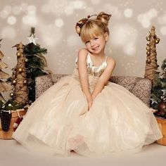 Glitter & Gold Gown: Ivory Gold Long Girls Dress; Baby Toddler Girl Holiday Dress, Gold Sequin; Tulle Glitter Skirt; Christmas Dress by InfantileShop on Etsy https://www.etsy.com/listing/253137838/glitter-gold-gown-ivory-gold-long-girls