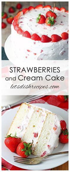 Strawberries and Cream Cake Recipe: Layers of moist white cake are sandwiched between a whipped cream cheese, strawberry studded frosting in this beautiful and delicious cake that's perfect for any spring celebration! #cake #desserts #strawberries #recipes
