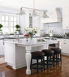 Absolutely stunning white and gray kitchen! #VT can help you achieve the look of these countertops. www.vtindustries.com