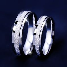 Simple Sparkle Sandstone Finish Sterling Silver Matching Promise Rings for His