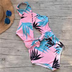 Women Pink Tropical Halter Bow Padded Sexy One Piece Swimsuit – S - Bikinis Plus Size Bikini Bottoms, Women's Plus Size Swimwear, One Piece Swimwear, One Piece Swimsuit For Teens, Swimsuits For Teens, Cute Swimsuits, Mode Du Bikini, Black And White Bikini, Cute Bathing Suits