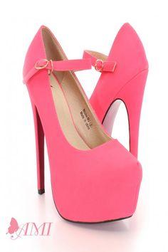 Neon Pink Faux Leather Maryjane Pink Bottom Heels
