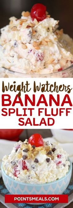 BANANA SPLIT FLUFF SALAD Ingredients : 1 – ounce box instant banana pudding 1 – 20 ounce can crushed pineapple (do not drain) 1 – 8 oun. Weight Watcher Desserts, Weight Watchers Meals, Weight Watchers Fluff Recipe, Weight Watchers Banana Pudding Recipe, Banana Split Salad Recipe, Banana Split Dessert, Weight Watchers Cheesecake, Banana Breakfast, Banana Pancakes