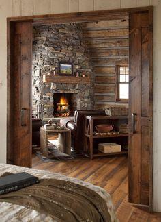 Family Cabin Retreat great room & bedroom