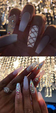 42 elegant nail art designs for prom 2019 47 ~ com is part of Cute nails Teal Coral - Cute nails Teal Coral Dope Nails, Glam Nails, Fancy Nails, Bling Nails, Glitter Nails, Beauty Nails, My Nails, Stud Nails, Fabulous Nails