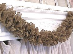 Rustic Prairie Hand Made Natural Brown Ruffle Burlap Garland. $30.00, via Etsy.