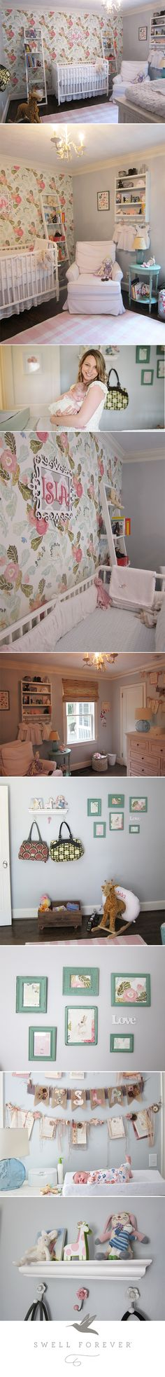 Isla Lane's Entire Nursery. Peonies, Bunnies + White, Teal, Pink and Coral Color Palette. Picture Frame Collage, Diaper Bag Hooks, Anthropologie Wallpaper, Jenny Lind Crib, Serena and Lily Glider, Crate and Barrel Leaning Shelves. Handmade garland and name plaque. Designed by Mom. #swellnursery #swellforever #islalane