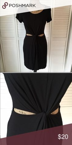 F21 black dress Forever 21 sexy black dress. Cut outs on stomach. Size large. Stretchy material. Forever 21 Dresses Mini