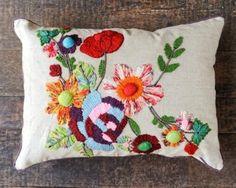 "Cotton Floral Pillow  Decorative Stitching  Multi Colored Flower Design 16""x22"""