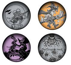 2 x 2-Zoll-Halloween-Kreisen. Digitaler von TheGraphicNest auf Etsy