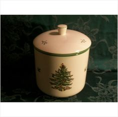 Vintage Spode Christmas Tree Pattern Cookie Jar - Pristine Condition in Original Box.  A steal at $39.95