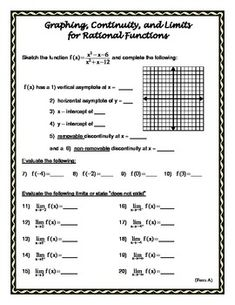 rational functions and limits worksheet on limits continuity pre calculus and calculus. Black Bedroom Furniture Sets. Home Design Ideas