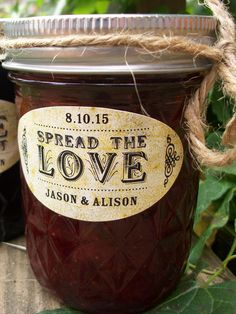 Oval Spread the Love or Love is Sweet canning jar labels, wedding favor stickers for quilted Ball jam and jelly jars, bridal shower favors, CanningCrafts, Etsy $6