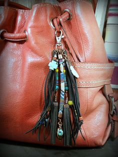 Leather Fringe Purse Tassel Clip Beaded in a Native American Style, by StoneWearDesigns