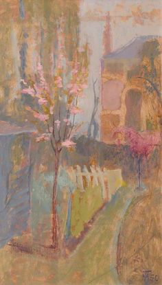 Spring Garden by Margaret Thomas   Oil on canvas, 71 x 40.6 cm Collection: Gregynog Hall