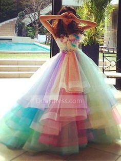 f4d90ed6169b Ombre Floral Organza Rainbow Puffy Strapless Ball Gown Princess Tiered Evening  Dress ItemNe0083