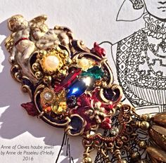WIP 1539 Anne of Cleves haube jewel Recreated by #Anne_de_Pisseleu_d_Heilly.  German Tudor Renaissance Brass stampings, nail polish enamel a la mode renaissance, glass gems pearls, bead caps for dangles, Grecian gold rub-n-buff