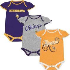 accbbaa19 Amazon.com  NFL Minnesota Vikings Newborn Girls Scalloped Sleeve 3-Pack  Creeper Set