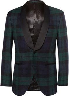 Hackett Satin-Trimmed Black Watch Tartan Wool Tuxedo Jacket